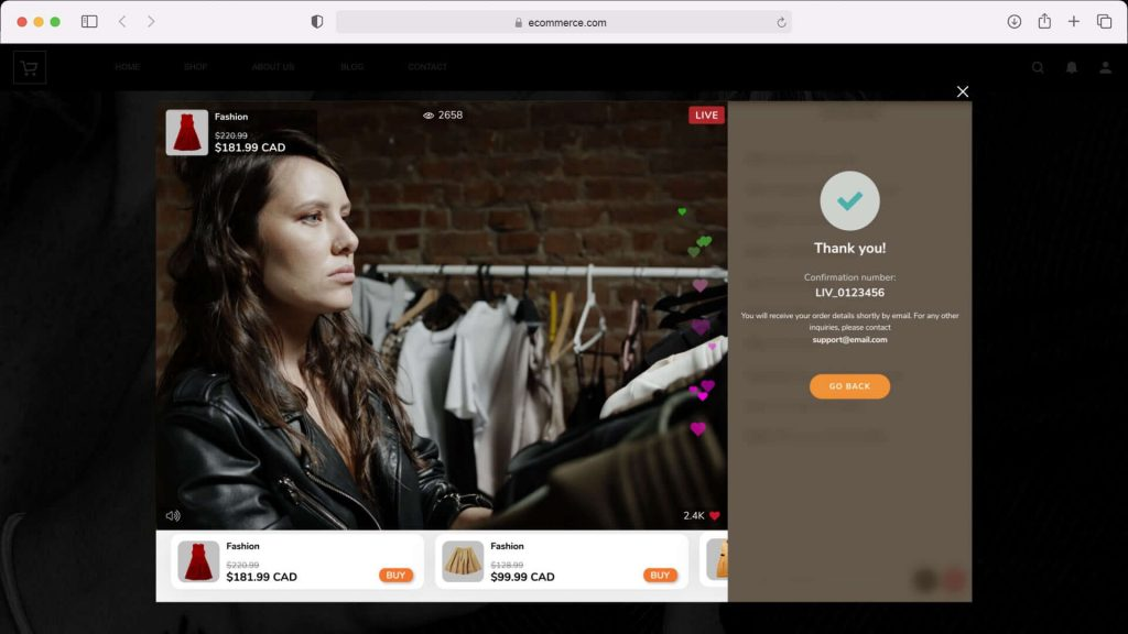 Live Shopping in-video immersive checkout for ecommerce store